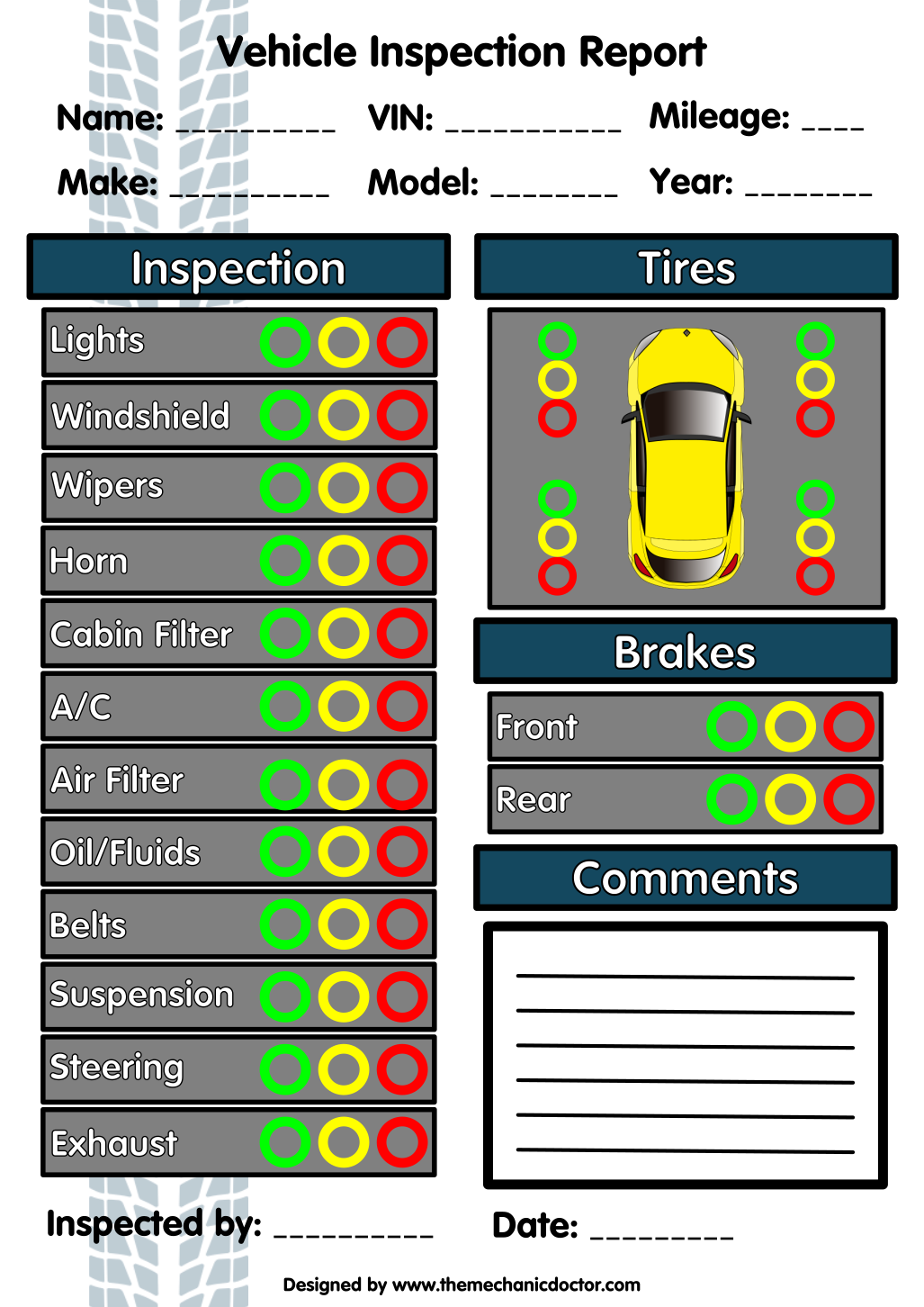 6 Free Vehicle Inspection Forms Modern Looking Checklists For Today S Auto Mechanic